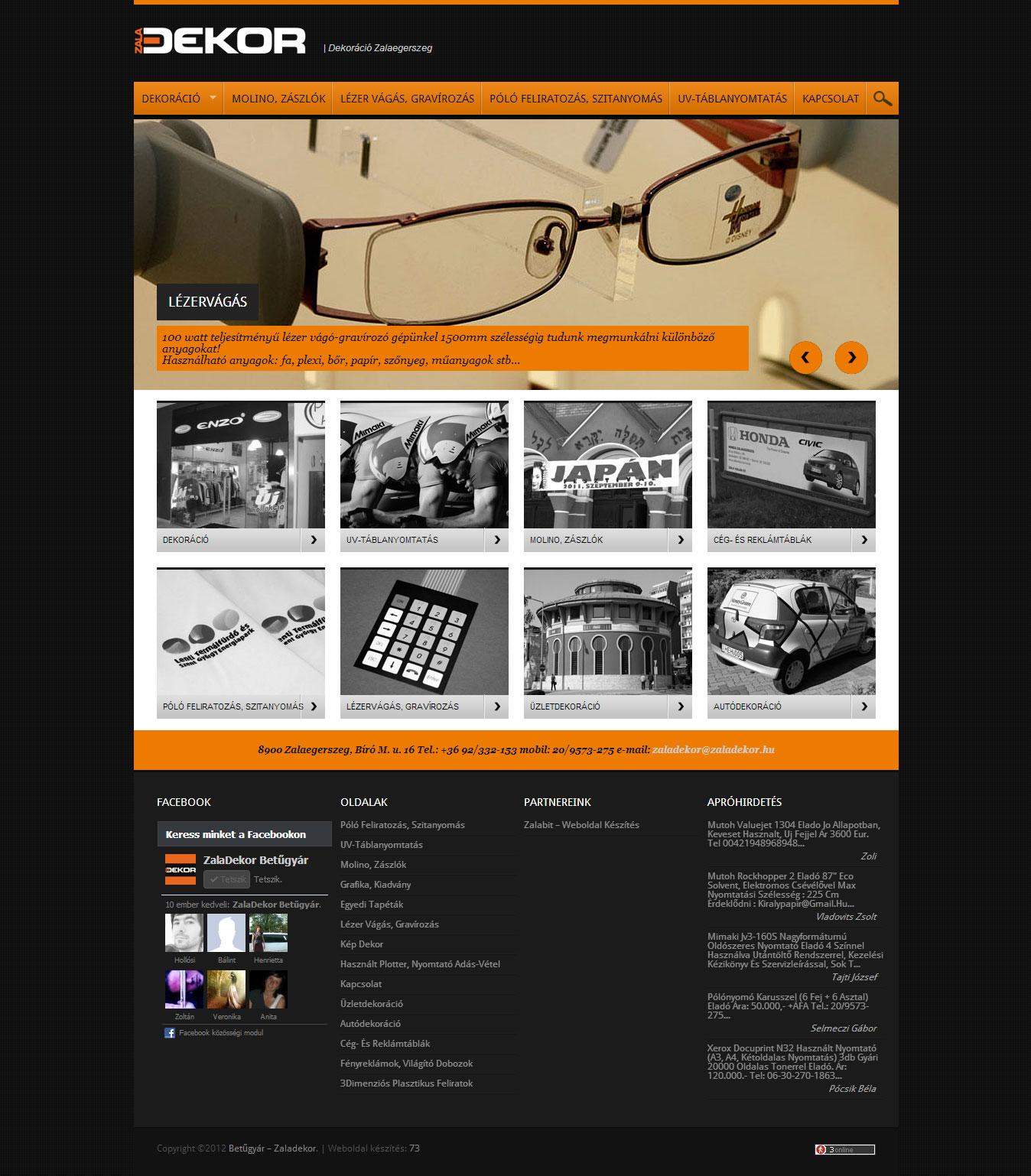 zaladekor.hu weboldal készítés