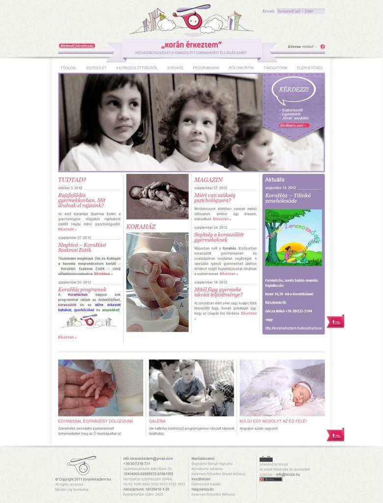koranerkeztem.hu weboldal készítés